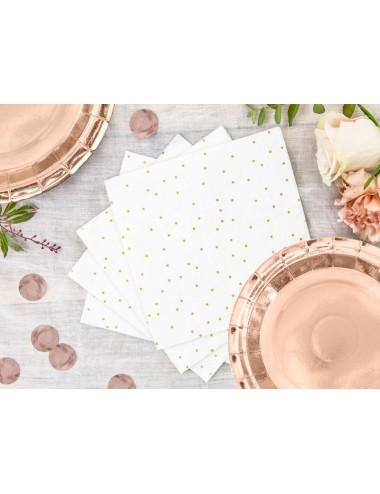 Witte servetten met gouden stippen (20st)