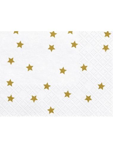 Witte servetten met gouden sterren (20st)
