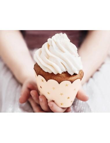 Cupcake Wrappers met gouden sterren (6st)