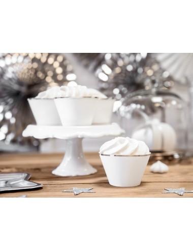 Cupcake Wrappers met zilveren rand (6st)