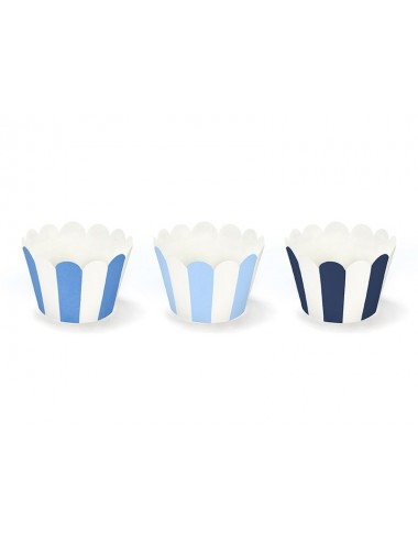Cupcake Wrappers blauw gestreepte mix (6st)