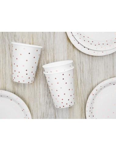 Papieren bekertjes roségouden stippen (6st)