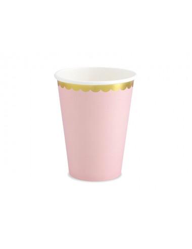 Papieren bekertjes gouden rand roze (6st)