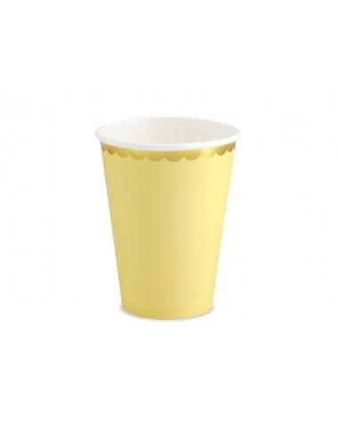 Papieren bekertjes gouden rand geel (6st)