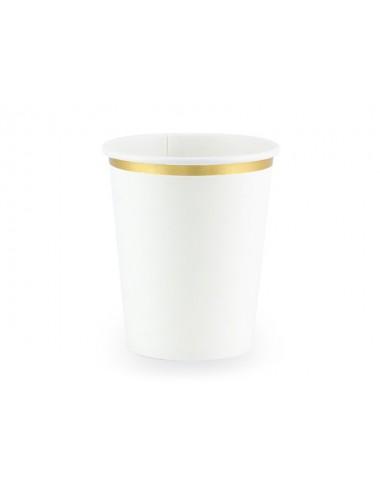 Papieren bekertjes wit met gouden rand (6st)