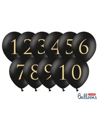 Ballonnen met nummers zwart (11st)