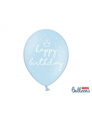 """Ballonnen """"Happy Birthday"""" blauw (6st)"""