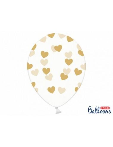 Transparante Ballonnen hartjes / 8 verschillende kleuren (6st)