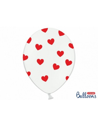 Ballonnen wit met hartjes (6st)
