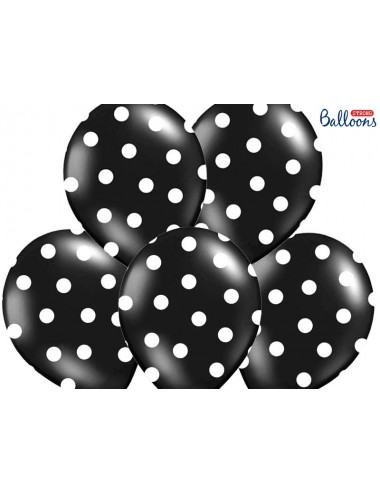 Ballonnen zwart met witte stippen (6st)