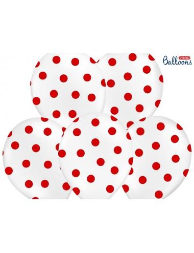 Ballonnen wit met rode stippen (6st)