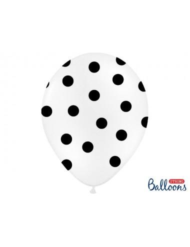 Ballonnen wit met zwarte stippen (6st)