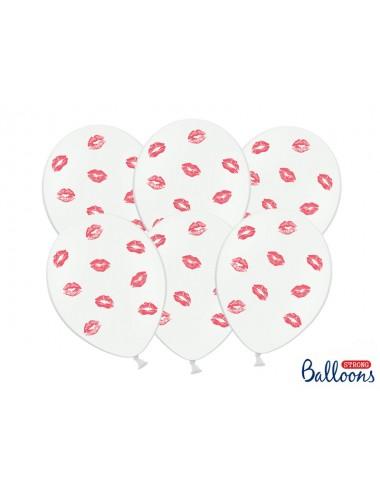 Ballonnen wit met rode lippen (6st)