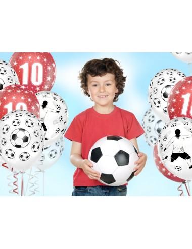 Ballonnen wit met voetballer (6st)