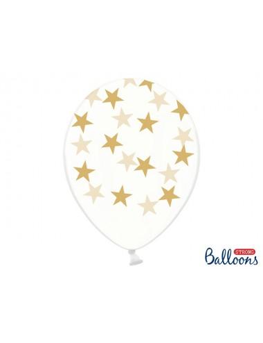 Transparante Ballonnen gouden sterren (6st)