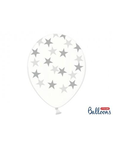 Transparante Ballonnen zilveren sterren (6st)