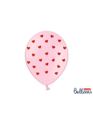Ballonnen hartjes roze (6st)