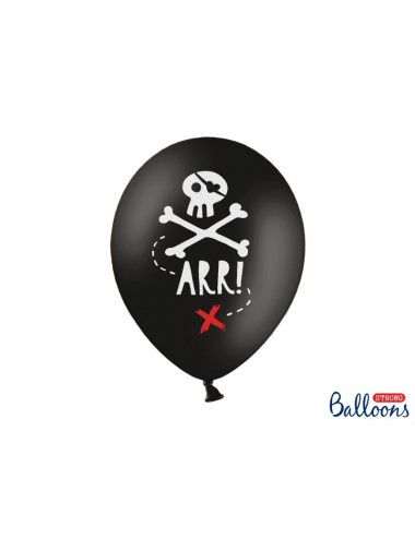 """Ballonnen zwart """"ARR!"""" (6st)"""