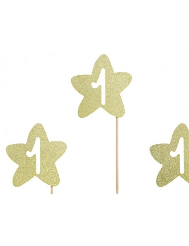 "Cake toppers sterren ""1"" goud (6st)"