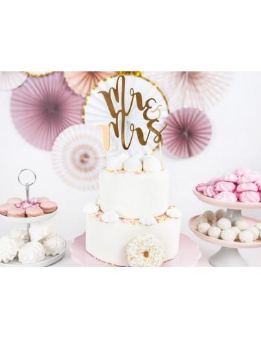 """Cake topper """"MR&MRS"""" goud"""
