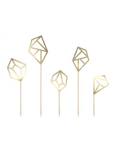 Cake toppers diamanten goud (5st)