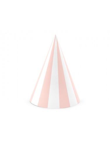 Feesthoedjes wit/roze (6st)