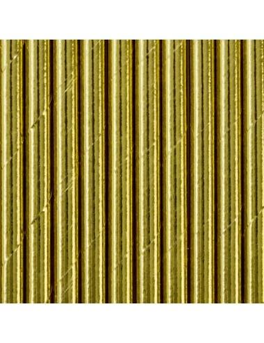 Papieren rietjes goud (10st)