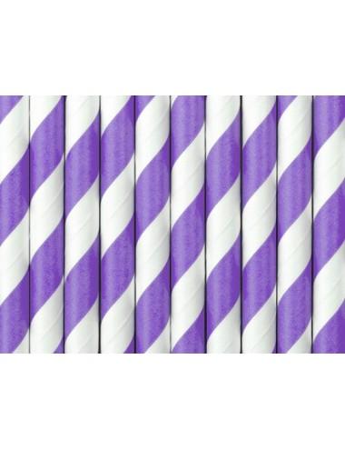 Papieren rietjes paars/wit (10st)