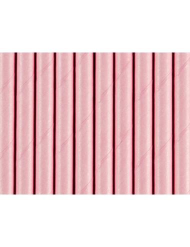 Papieren rietjes roze (10st)