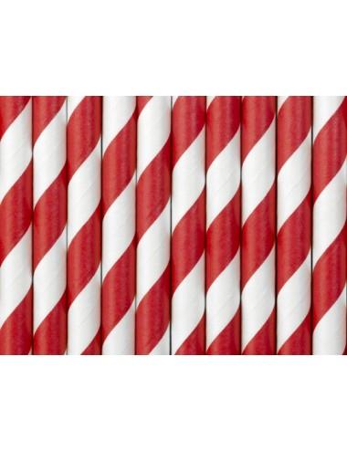 Papieren rietjes rood/wit (10st)