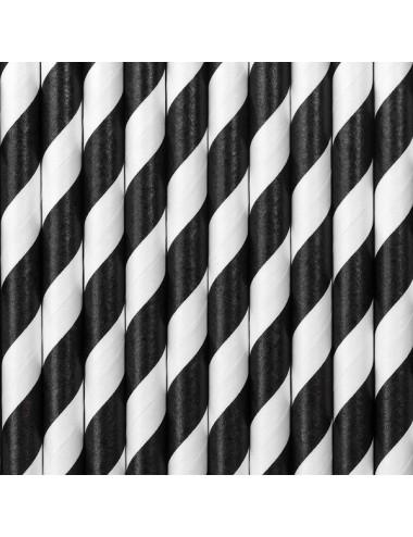 Papieren rietjes zwart/wit (10st)