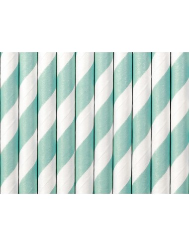 Papieren rietjes blauw/wit (10st)