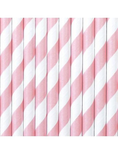 Papieren rietjes roze/wit (10st)