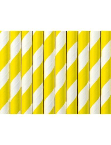 Papieren rietjes geel/wit (10st)