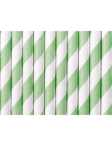 Papieren rietjes mint/wit (10st)
