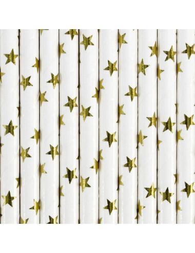 Papieren rietjes wit met gouden sterren (10st)