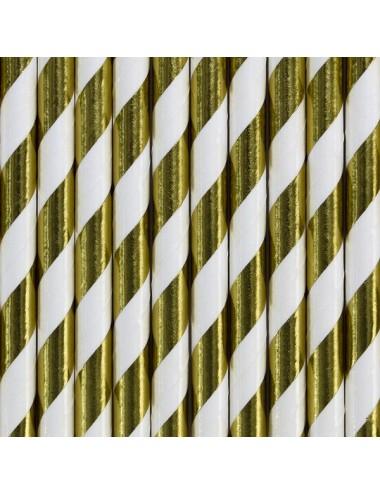 Papieren rietjes wit/goud (10st)