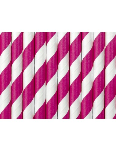 Papieren rietjes fuchsia/wit (10st)