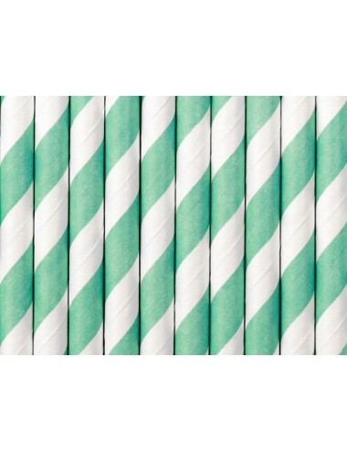 Papieren rietjes tiffany blauw/wit (10st)