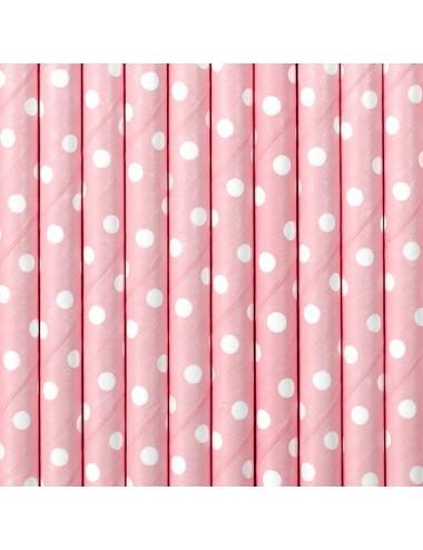 Papieren rietjes roze met witte stippen (10st)