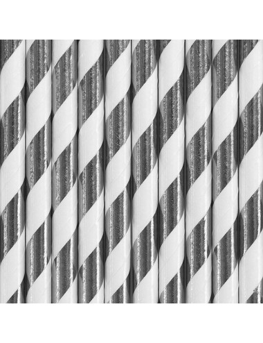 Papieren rietjes wit/zilver (10st)