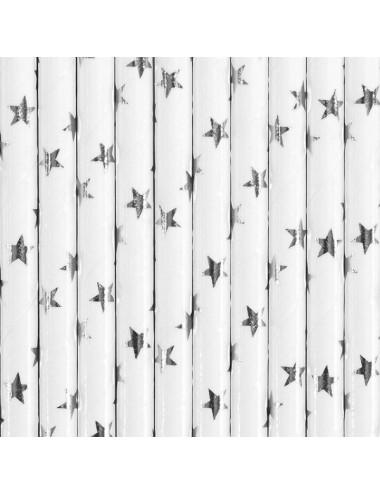 Papieren rietjes wit met zilveren sterren (10st)