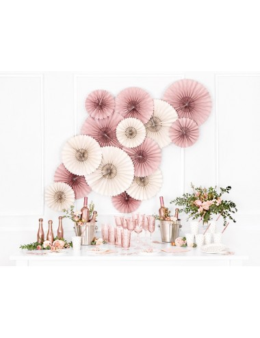 Papieren bordjes wit met roségouden stippen (6st)