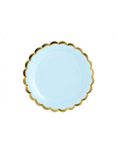 Papieren bordjes blauw met gouden rand (6st)