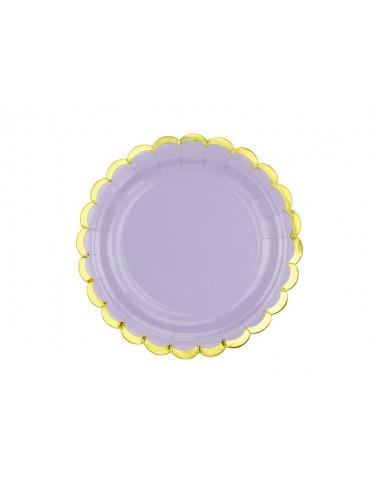 Papieren bordjes paars met gouden rand (6st)