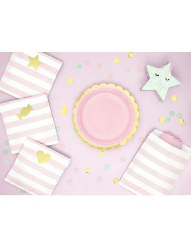 Papieren bordjes roze met...