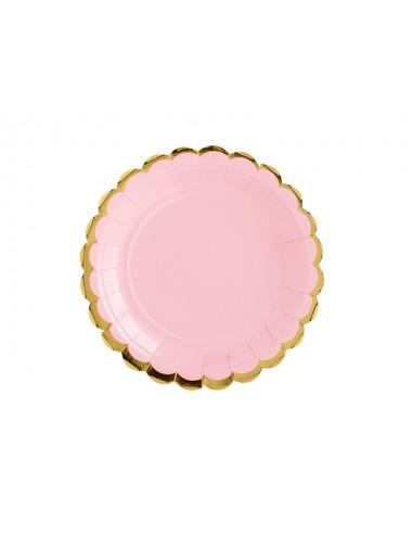 Papieren bordjes roze met gouden rand (6st)