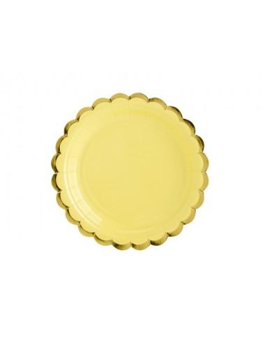 Papieren bordjes geel met gouden rand (6st)
