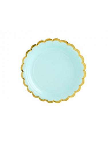 Papieren bordjes mint met gouden rand (6st)