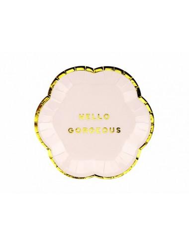 """Papieren bordjes """"Hello Gorgeous"""" (6st)"""